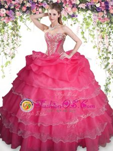 Colorful Coral Red Organza Lace Up Sweet 16 Dress Sleeveless Floor Length Beading and Ruffled Layers and Pick Ups