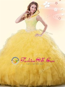 Unique Yellow Backless Sweet 16 Dresses Beading and Ruffles Sleeveless Floor Length