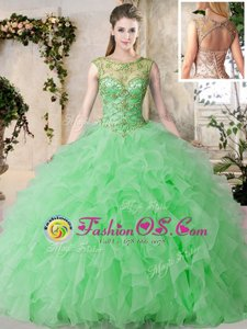 Captivating Green Scoop Neckline Beading and Ruffles Quinceanera Dresses Sleeveless Lace Up