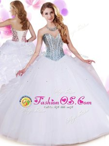 Sweetheart Sleeveless Sweet 16 Dresses Floor Length Beading and Ruffles White Organza and Tulle