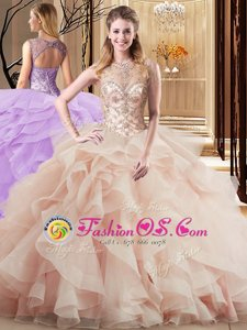 Wonderful Peach Ball Gowns Scoop Sleeveless Tulle Brush Train Lace Up Beading and Ruffles 15th Birthday Dress
