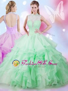 Fabulous Sleeveless Tulle Floor Length Lace Up Ball Gown Prom Dress in Multi-color for with Beading and Ruffles