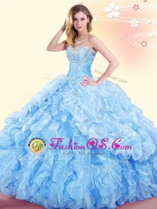 Pretty Baby Blue Organza Lace Up Sweetheart Sleeveless Floor Length Sweet 16 Quinceanera Dress Beading and Ruffles and Pick Ups