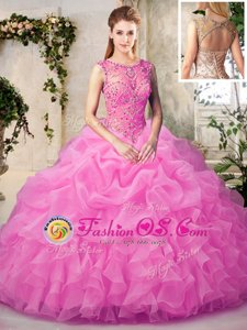 Scoop Rose Pink Organza Lace Up 15 Quinceanera Dress Sleeveless Floor Length Beading and Ruffles and Pick Ups