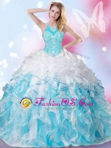 Most Popular Halter Top Floor Length Blue And White Quinceanera Dress Organza Sleeveless Beading and Ruffles and Pick Ups