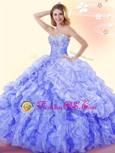 Sleeveless Beading and Ruffles and Pick Ups Lace Up Quinceanera Dress