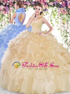 Graceful Organza High-neck Sleeveless Backless Beading and Ruffled Layers Sweet 16 Dress in Champagne