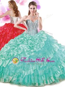Sweetheart Sleeveless 15 Quinceanera Dress Floor Length Beading and Ruffled Layers and Pick Ups Turquoise Organza and Taffeta
