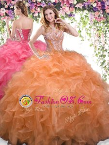 Popular Organza Sweetheart Sleeveless Lace Up Beading and Ruffles 15th Birthday Dress in Orange
