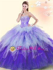 Dazzling Ball Gowns Quince Ball Gowns Multi-color Sweetheart Tulle Sleeveless Floor Length Lace Up