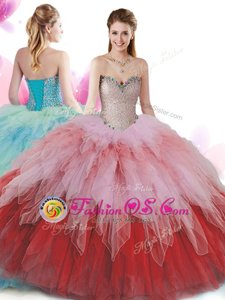 Multi-color Halter Top Lace Up Beading and Ruffles and Pick Ups Quinceanera Dress Sleeveless