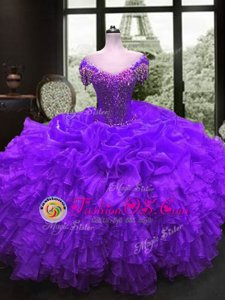 Elegant Ball Gowns Sweet 16 Dresses Purple Sweetheart Organza Cap Sleeves Floor Length Lace Up