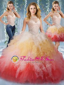 Romantic Multi-color Lace Up Quinceanera Gown Beading and Ruffles Sleeveless Floor Length