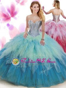 Dynamic Sleeveless Tulle Floor Length Backless Quinceanera Gowns in Baby Pink for with Beading and Ruffles