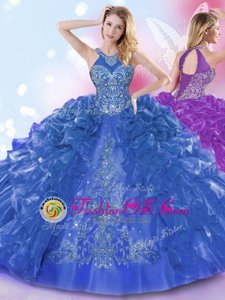Top Selling Halter Top Royal Blue Sleeveless Appliques and Ruffled Layers Floor Length Quinceanera Gown