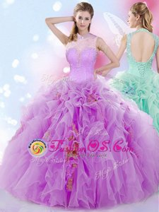 Halter Top Lilac Ball Gowns Beading and Ruffles 15th Birthday Dress Lace Up Tulle Sleeveless Floor Length