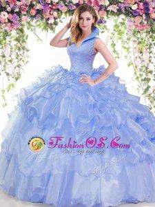 Ruffled Floor Length Ball Gowns Sleeveless Blue Quince Ball Gowns Backless