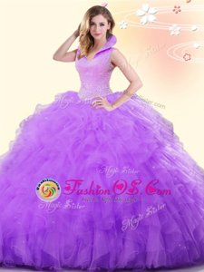 New Style Lavender Sleeveless Floor Length Beading and Ruffles Backless Quinceanera Gowns