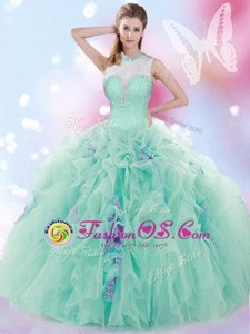 Gorgeous Floor Length Ball Gowns Sleeveless Apple Green Quinceanera Gowns Lace Up