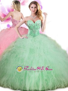 New Arrival Pick Ups Sweetheart Sleeveless Lace Up Vestidos de Quinceanera Apple Green Tulle