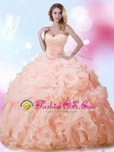 Admirable Sleeveless Brush Train Beading and Ruffles and Pick Ups Lace Up Sweet 16 Dresses