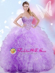 Fantastic Floor Length Lace Up Quinceanera Gown Lavender and In for Military Ball and Sweet 16 and Quinceanera with Beading and Ruffles