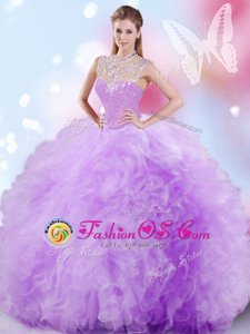 Tulle Sleeveless Floor Length Vestidos de Quinceanera and Beading and Ruffles and Sequins