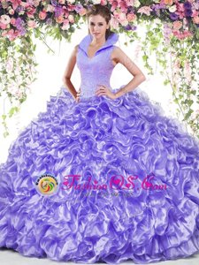 Pretty Ball Gowns Ball Gown Prom Dress Lavender High-neck Organza Sleeveless Floor Length Backless