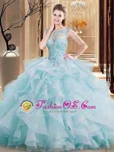 Light Blue Ball Gowns Tulle Scoop Sleeveless Beading and Ruffles Lace Up 15 Quinceanera Dress Brush Train