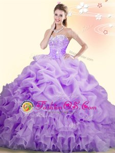Sleeveless With Train Beading and Ruffles and Pick Ups Lace Up 15th Birthday Dress with Lilac Brush Train