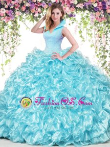Best Aqua Blue Sleeveless Floor Length Beading and Ruffles Backless Quinceanera Gown