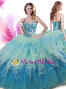 Stylish Halter Top Turquoise Lace Up Sweet 16 Dress Embroidery and Pick Ups Sleeveless Floor Length