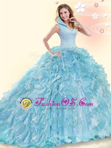 Aqua Blue Ball Gowns Organza High-neck Sleeveless Beading and Ruffles Backless Sweet 16 Dresses Brush Train
