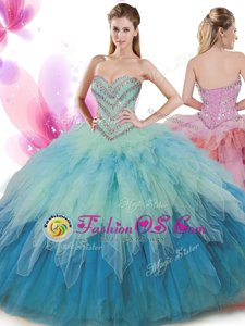 Excellent Sweetheart Sleeveless Sweet 16 Quinceanera Dress Floor Length Beading and Ruffles Aqua Blue Organza