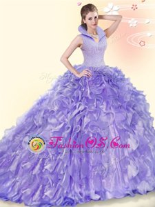 Enchanting Lavender Backless Ball Gown Prom Dress Beading and Ruffles Sleeveless Brush Train