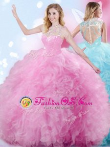 Decent Beading and Ruffles and Pick Ups Quinceanera Dresses Rose Pink Zipper Sleeveless Floor Length