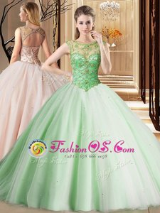 Nice Scoop Apple Green Ball Gowns Beading Quince Ball Gowns Lace Up Tulle Sleeveless