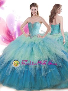 Scoop Ruffled Ball Gowns Sleeveless Light Blue Quinceanera Gowns Brush Train Lace Up