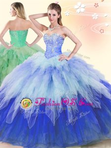 High Quality Organza Sweetheart Sleeveless Lace Up Beading and Ruffles Quinceanera Gown in Fuchsia