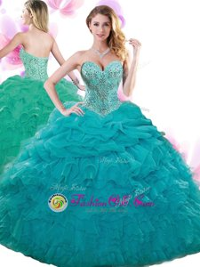 Sleeveless Organza Floor Length Lace Up Sweet 16 Dresses in Teal for with Beading and Ruffles and Pick Ups