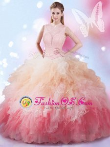Decent High-neck Sleeveless Sweet 16 Dresses Floor Length Beading and Ruffles Multi-color Tulle