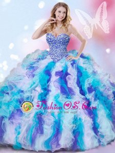 Eye-catching Multi-color Lace Up Sweet 16 Quinceanera Dress Beading and Ruffles Sleeveless