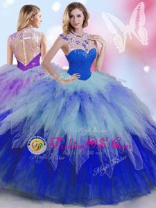 Multi-color Sleeveless Floor Length Beading and Ruffles Zipper Sweet 16 Dresses