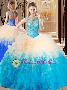 Modest Multi-color Quinceanera Gown Military Ball and Sweet 16 and Quinceanera and For with Beading Scoop Sleeveless Lace Up