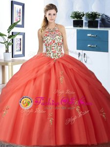 Classical Pick Ups Ball Gowns 15th Birthday Dress Orange Red Halter Top Tulle Sleeveless Floor Length Lace Up