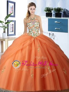 Exquisite Halter Top Sleeveless Floor Length Embroidery and Pick Ups Lace Up Sweet 16 Quinceanera Dress with Orange