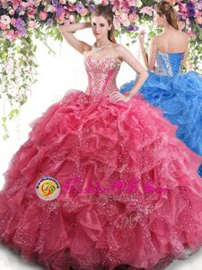 Discount Coral Red Sleeveless Organza Lace Up Ball Gown Prom Dress for Military Ball and Sweet 16 and Quinceanera