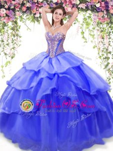 Clearance Ruffled Floor Length Ball Gowns Sleeveless Blue Sweet 16 Dresses Lace Up