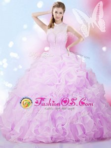 Deluxe Pick Ups Lilac Sleeveless Organza Lace Up Vestidos de Quinceanera for Military Ball and Sweet 16 and Quinceanera