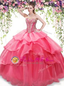 Popular Coral Red Sleeveless Floor Length Beading and Ruffled Layers Lace Up 15 Quinceanera Dress